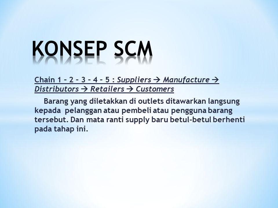 KONSEP SCM Chain 1 – 2 – 3 – 4 – 5 : Suppliers  Manufacture  Distributors  Retailers  Customers.