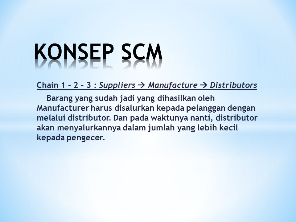 KONSEP SCM Chain 1 – 2 – 3 : Suppliers  Manufacture  Distributors