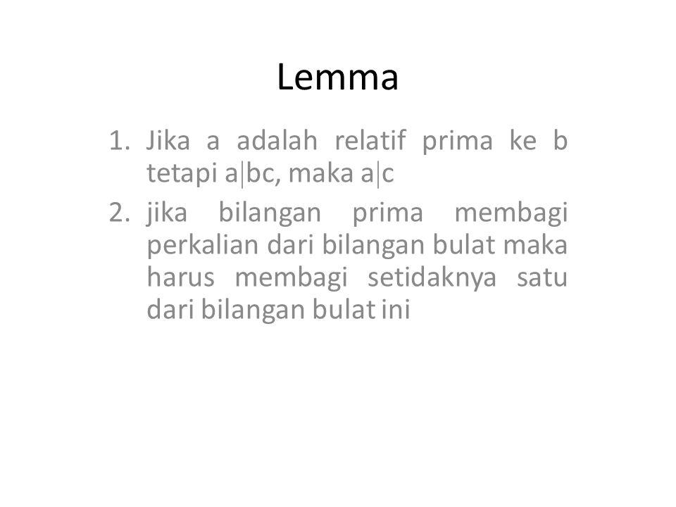 Lemma Jika a adalah relatif prima ke b tetapi abc, maka ac