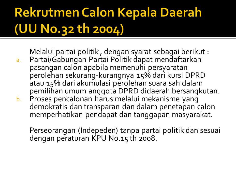 Rekrutmen Calon Kepala Daerah (UU No.32 th 2004)