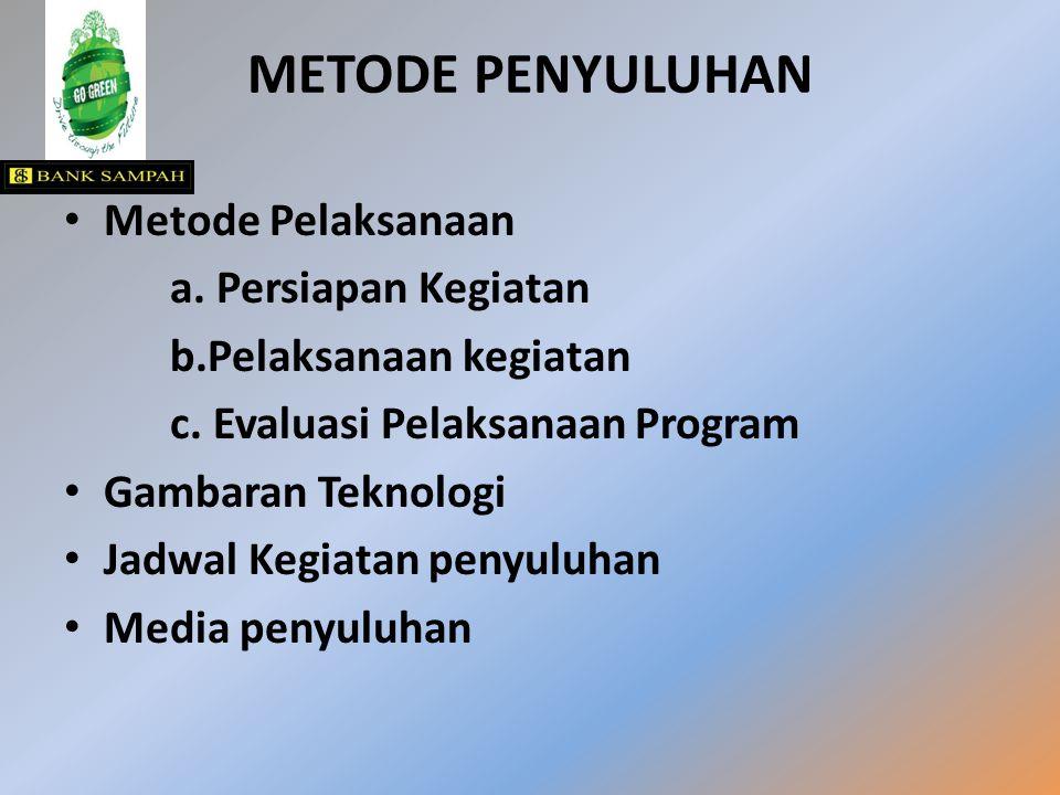 METODE PENYULUHAN Metode Pelaksanaan a. Persiapan Kegiatan