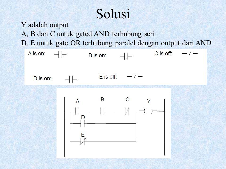Solusi Y adalah output A, B dan C untuk gated AND terhubung seri