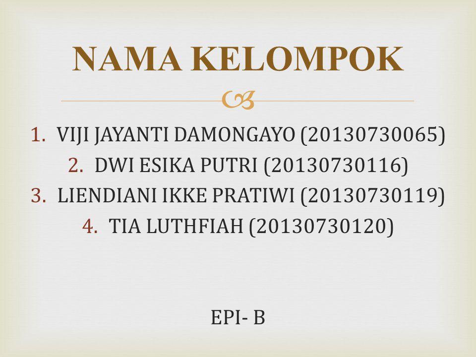 NAMA KELOMPOK VIJI JAYANTI DAMONGAYO (20130730065)