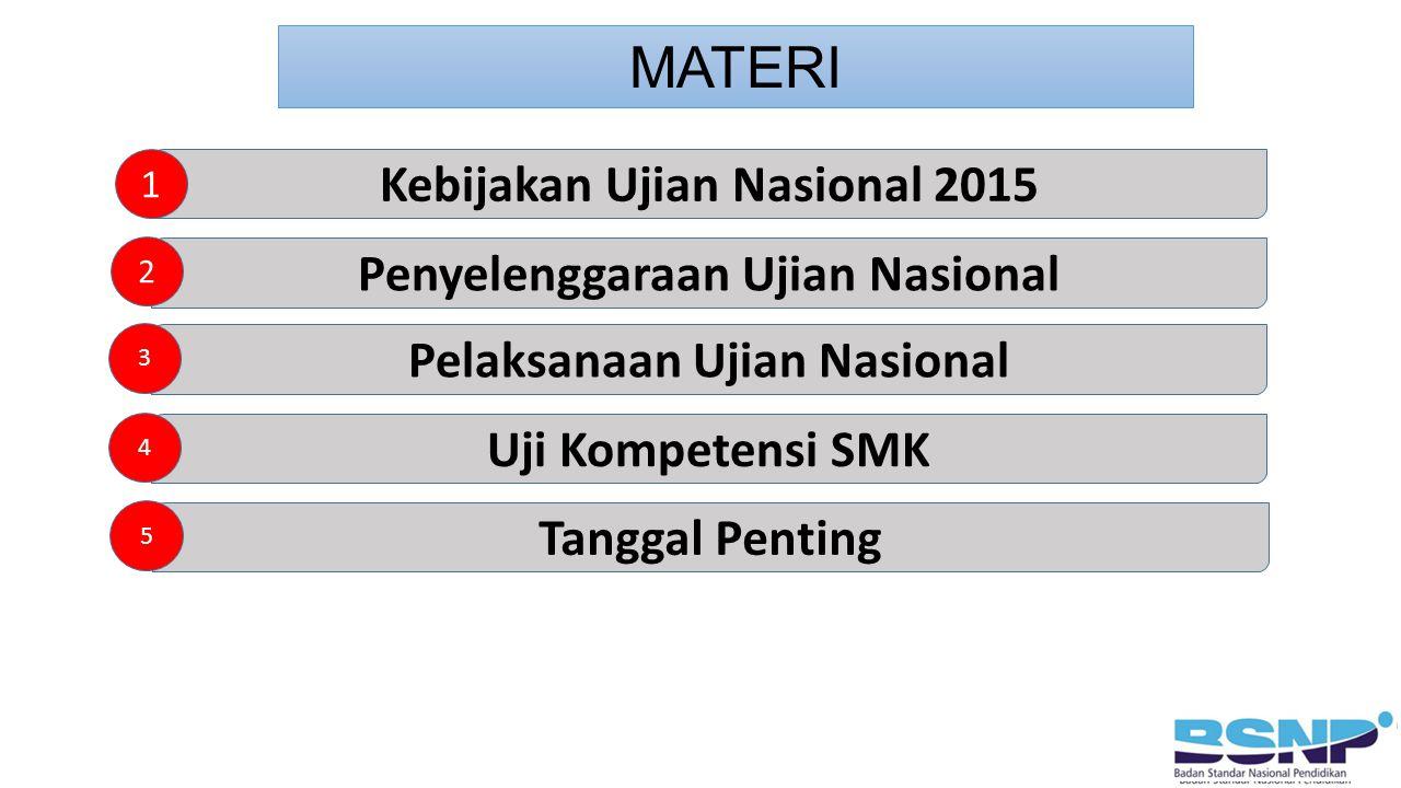 MATERI Kebijakan Ujian Nasional 2015 Penyelenggaraan Ujian Nasional
