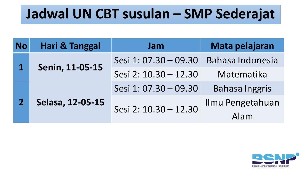 Jadwal UN CBT susulan – SMP Sederajat