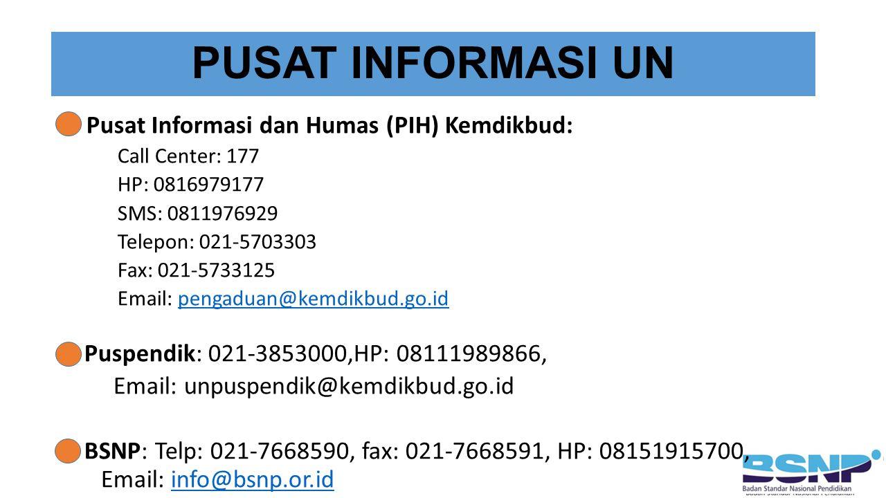 PUSAT INFORMASI UN Pusat Informasi dan Humas (PIH) Kemdikbud: