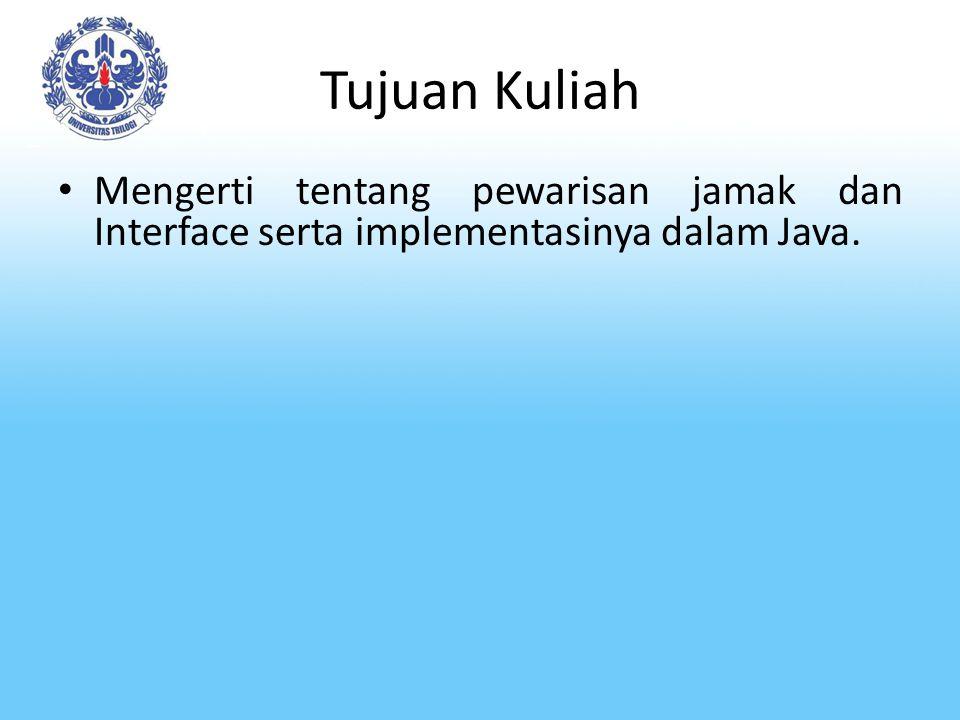 Tujuan Kuliah Mengerti tentang pewarisan jamak dan Interface serta implementasinya dalam Java.