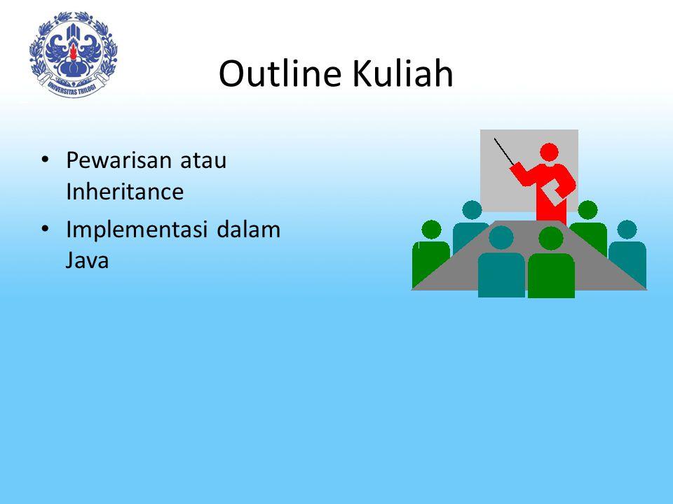 Outline Kuliah Pewarisan atau Inheritance Implementasi dalam Java
