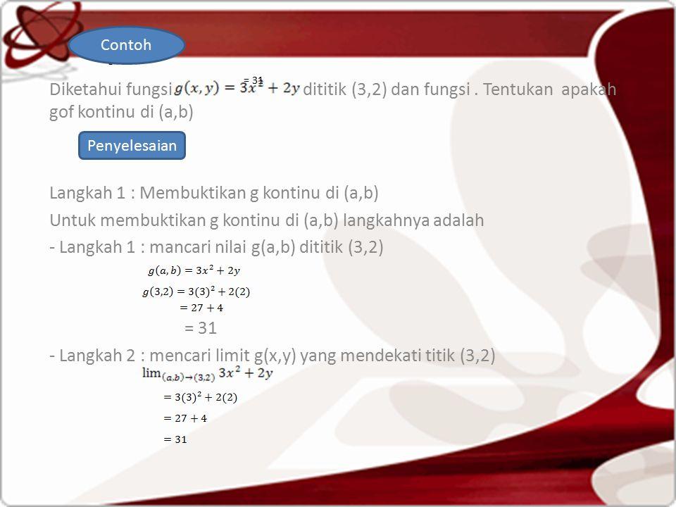 . Contoh. Diketahui fungsi dititik (3,2) dan fungsi . Tentukan apakah gof kontinu di (a,b)