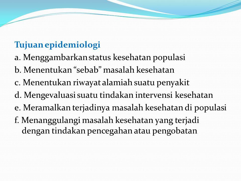 Tujuan epidemiologi a. Menggambarkan status kesehatan populasi b