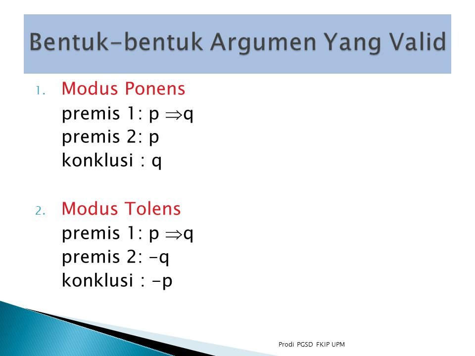 Bentuk-bentuk Argumen Yang Valid