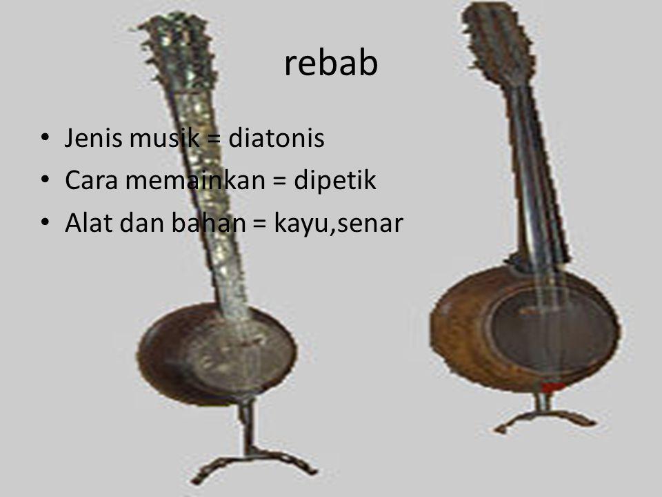 rebab Jenis musik = diatonis Cara memainkan = dipetik