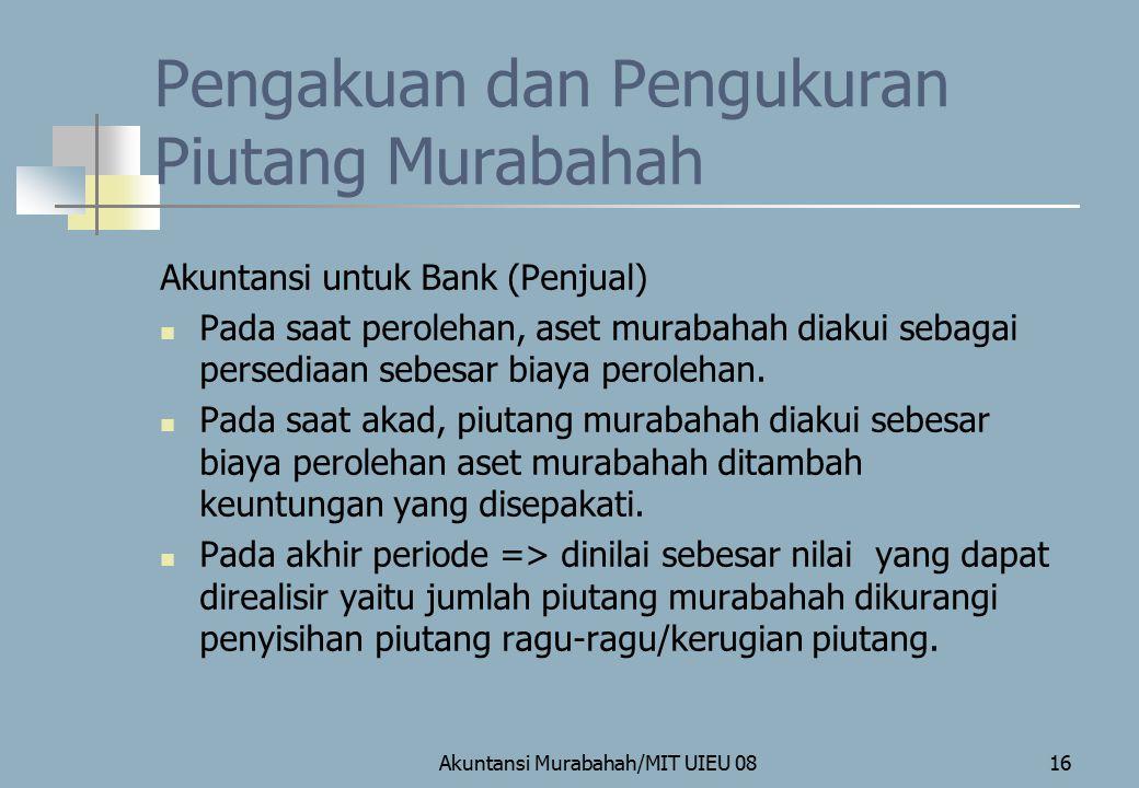 Pengakuan dan Pengukuran Piutang Murabahah