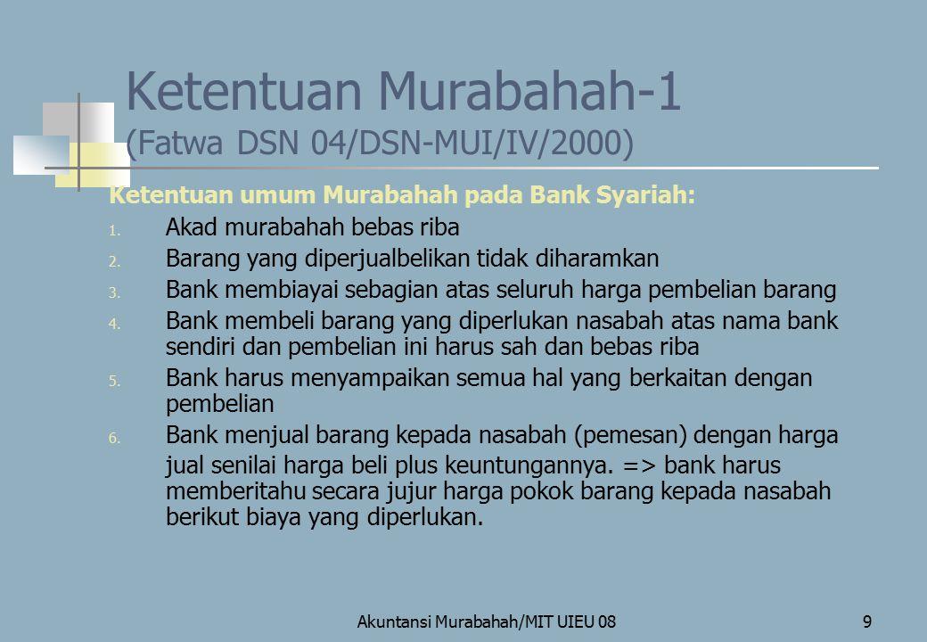 Ketentuan Murabahah-1 (Fatwa DSN 04/DSN-MUI/IV/2000)