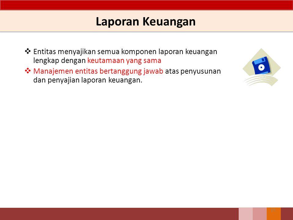 Laporan Keuangan Entitas menyajikan semua komponen laporan keuangan lengkap dengan keutamaan yang sama.