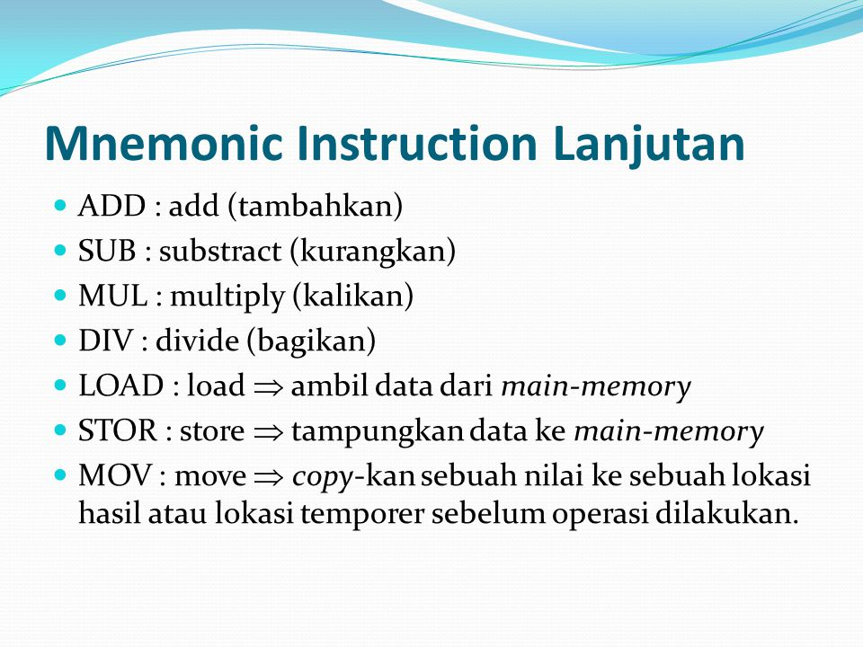 Mnemonic Instruction Lanjutan