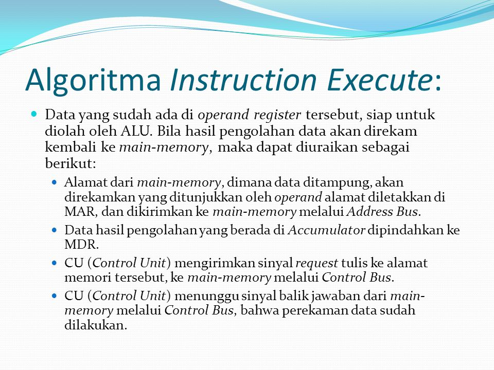 Algoritma Instruction Execute: