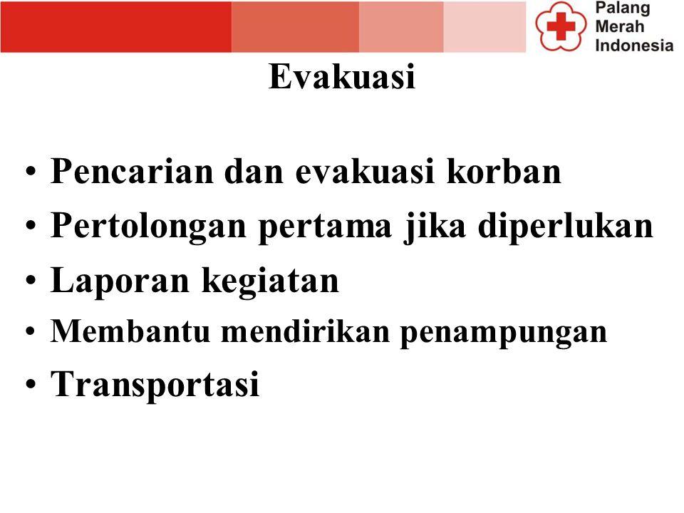 Pencarian dan evakuasi korban Pertolongan pertama jika diperlukan