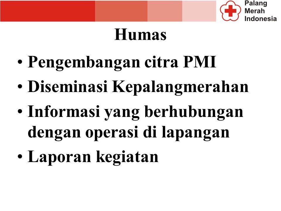 Humas Pengembangan citra PMI. Diseminasi Kepalangmerahan. Informasi yang berhubungan dengan operasi di lapangan.
