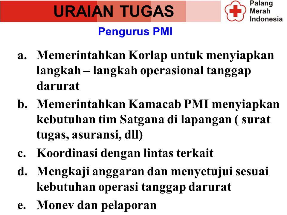 URAIAN TUGAS Pengurus PMI. Memerintahkan Korlap untuk menyiapkan langkah – langkah operasional tanggap darurat.
