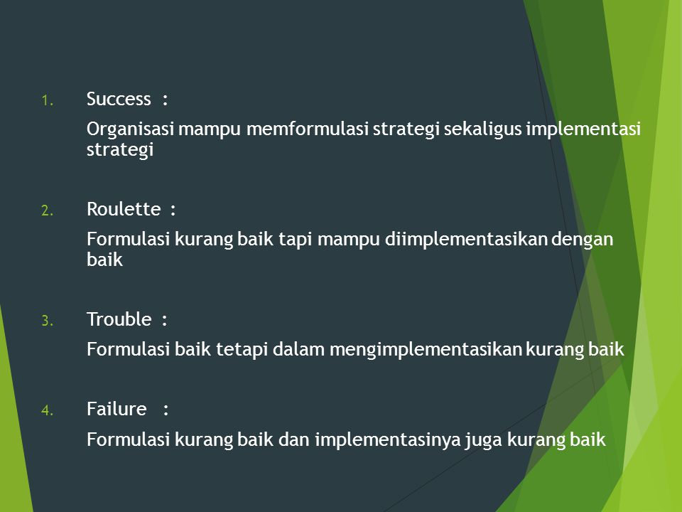 Success : Organisasi mampu memformulasi strategi sekaligus implementasi strategi. Roulette :