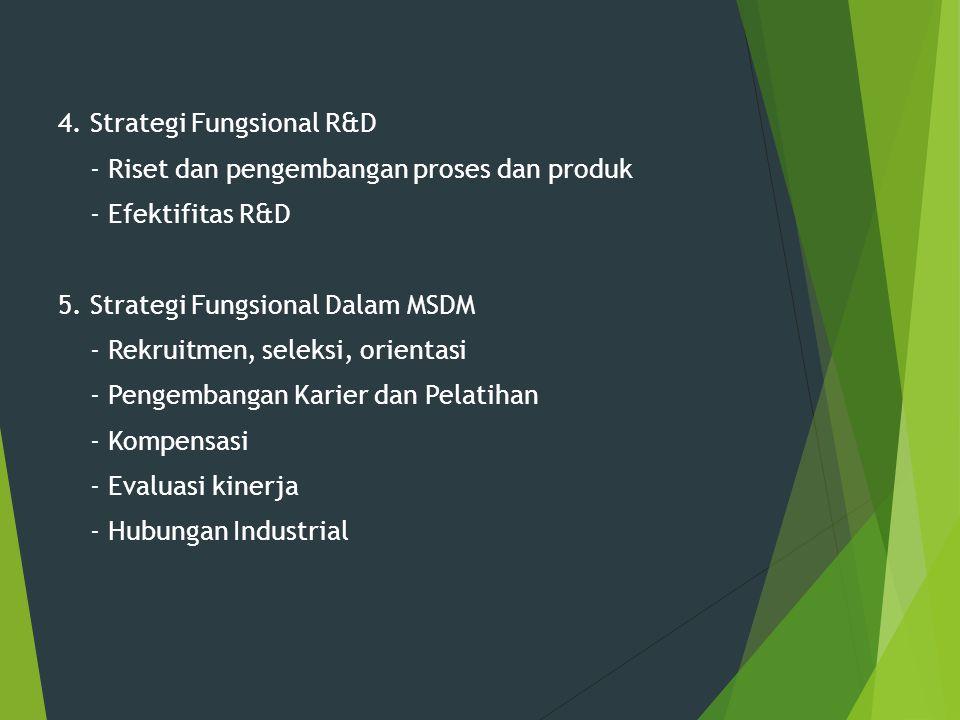 4. Strategi Fungsional R&D - Riset dan pengembangan proses dan produk - Efektifitas R&D 5.