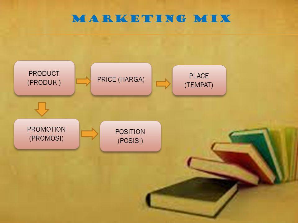 MARKETING MIX PRODUCT (PRODUK ) PRICE (HARGA) PLACE (TEMPAT)