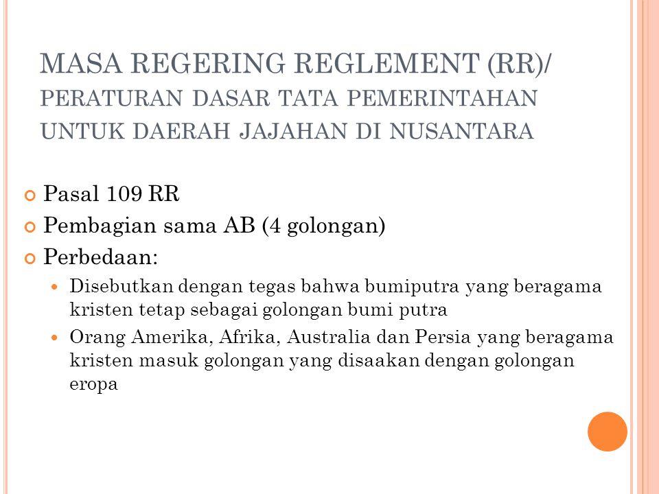 MASA REGERING REGLEMENT (RR)/ peraturan dasar tata pemerintahan untuk daerah jajahan di nusantara