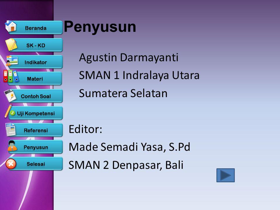Penyusun Agustin Darmayanti SMAN 1 Indralaya Utara Sumatera Selatan Editor: Made Semadi Yasa, S.Pd SMAN 2 Denpasar, Bali