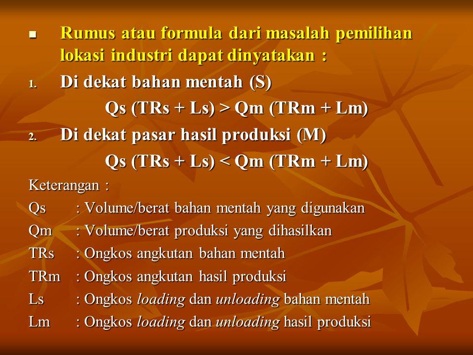 Qs (TRs + Ls) > Qm (TRm + Lm) Qs (TRs + Ls) < Qm (TRm + Lm)