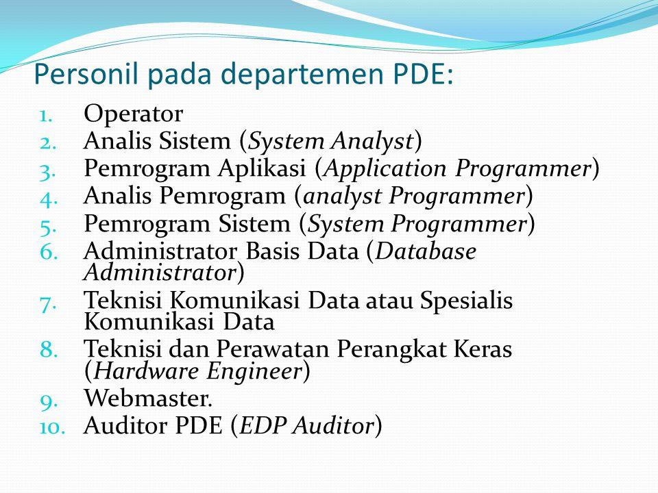 Personil pada departemen PDE: