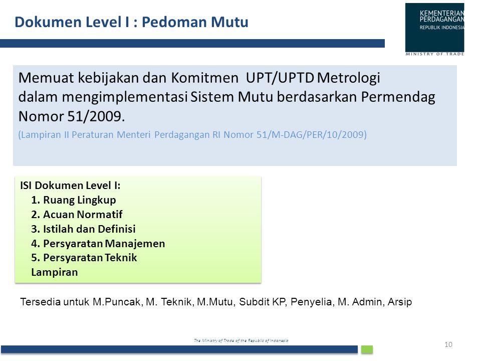 Dokumen Level I : Pedoman Mutu