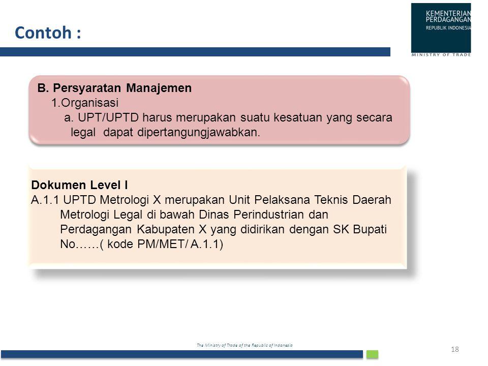 Contoh : B. Persyaratan Manajemen 1.Organisasi