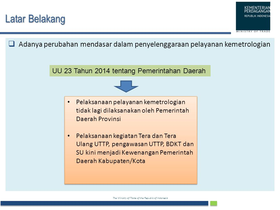 Latar Belakang Adanya perubahan mendasar dalam penyelenggaraan pelayanan kemetrologian. UU 23 Tahun 2014 tentang Pemerintahan Daerah.