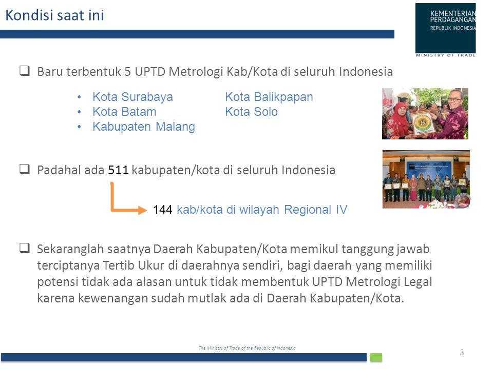 Kondisi saat ini Baru terbentuk 5 UPTD Metrologi Kab/Kota di seluruh Indonesia. Padahal ada 511 kabupaten/kota di seluruh Indonesia.