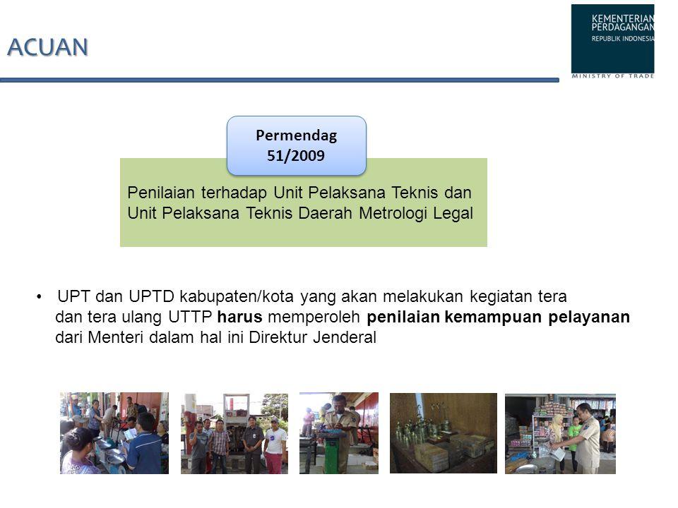 ACUAN Permendag 51/2009 Penilaian terhadap Unit Pelaksana Teknis dan