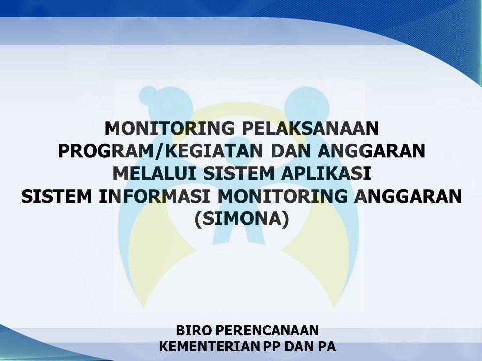 MONITORING PELAKSANAAN PROGRAM/KEGIATAN DAN ANGGARAN MELALUI SISTEM APLIKASI SISTEM INFORMASI MONITORING ANGGARAN (SIMONA)
