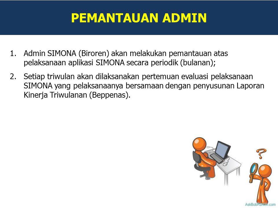 PEMANTAUAN ADMIN Admin SIMONA (Biroren) akan melakukan pemantauan atas pelaksanaan aplikasi SIMONA secara periodik (bulanan);