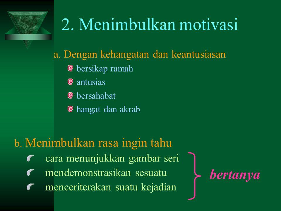 2. Menimbulkan motivasi bertanya a. Dengan kehangatan dan keantusiasan