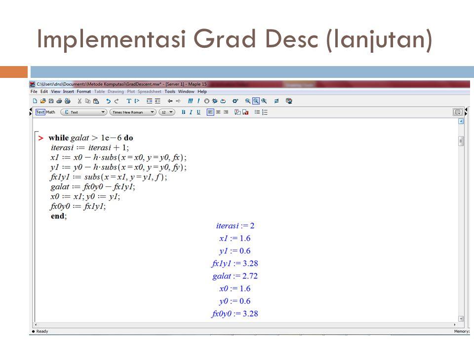 Implementasi Grad Desc (lanjutan)
