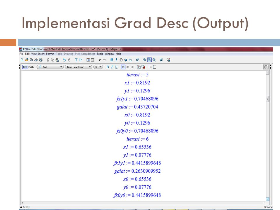 Implementasi Grad Desc (Output)