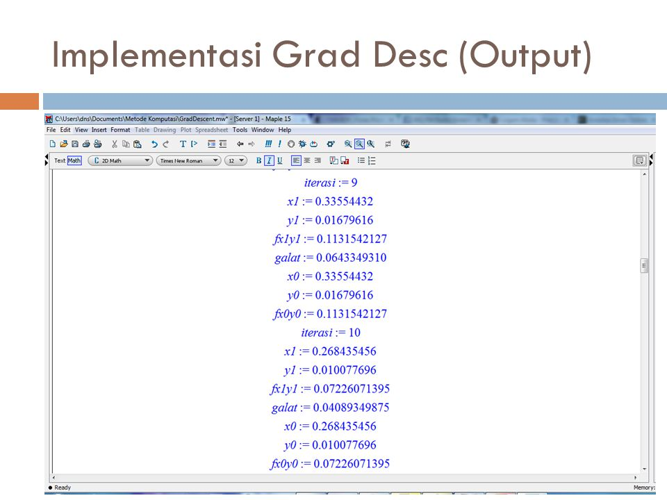 Implementasi Grad Desc (Output)