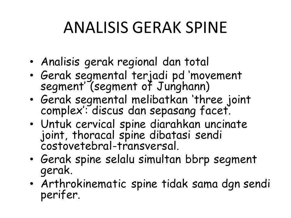 ANALISIS GERAK SPINE Analisis gerak regional dan total