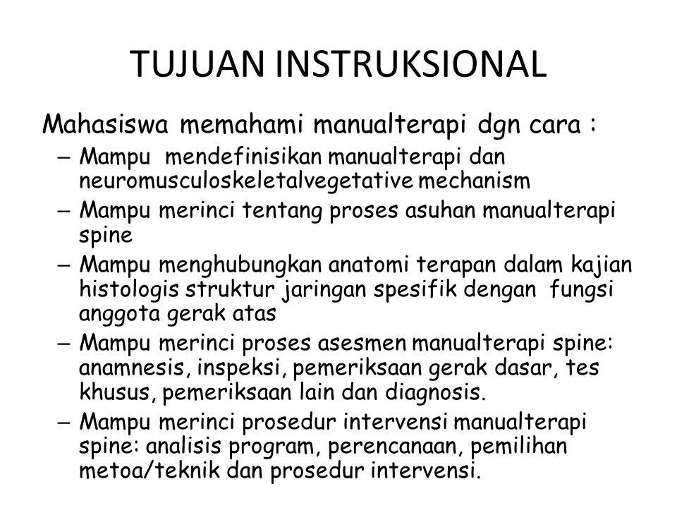 TUJUAN INSTRUKSIONAL Mahasiswa memahami manualterapi dgn cara :
