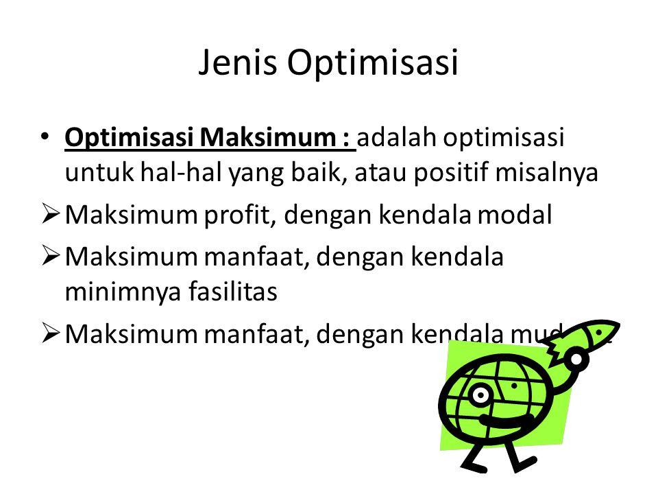 Jenis Optimisasi Optimisasi Maksimum : adalah optimisasi untuk hal-hal yang baik, atau positif misalnya.