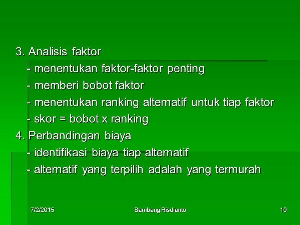 - menentukan faktor-faktor penting - memberi bobot faktor