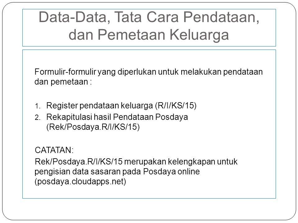 Data-Data, Tata Cara Pendataan, dan Pemetaan Keluarga
