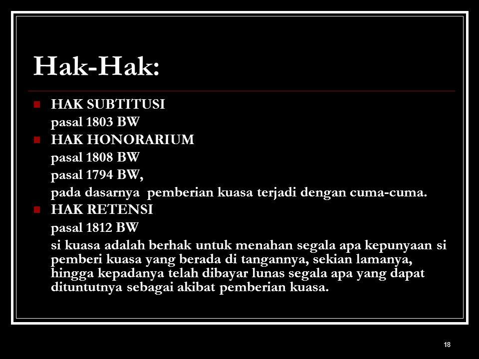 Hak-Hak: HAK SUBTITUSI pasal 1803 BW HAK HONORARIUM pasal 1808 BW
