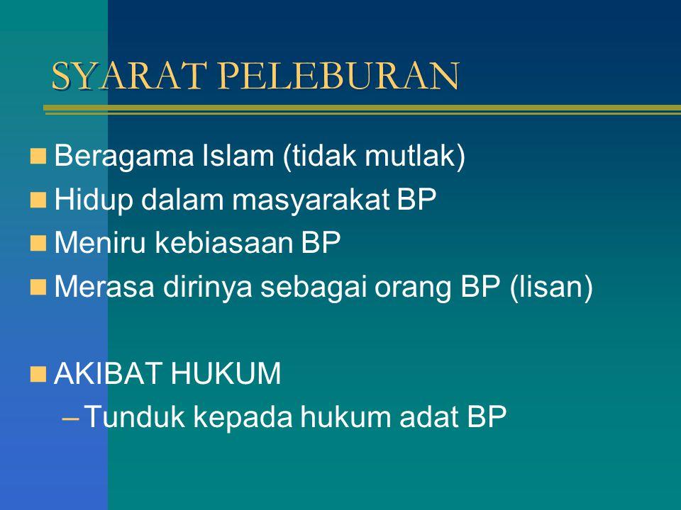 SYARAT PELEBURAN Beragama Islam (tidak mutlak)