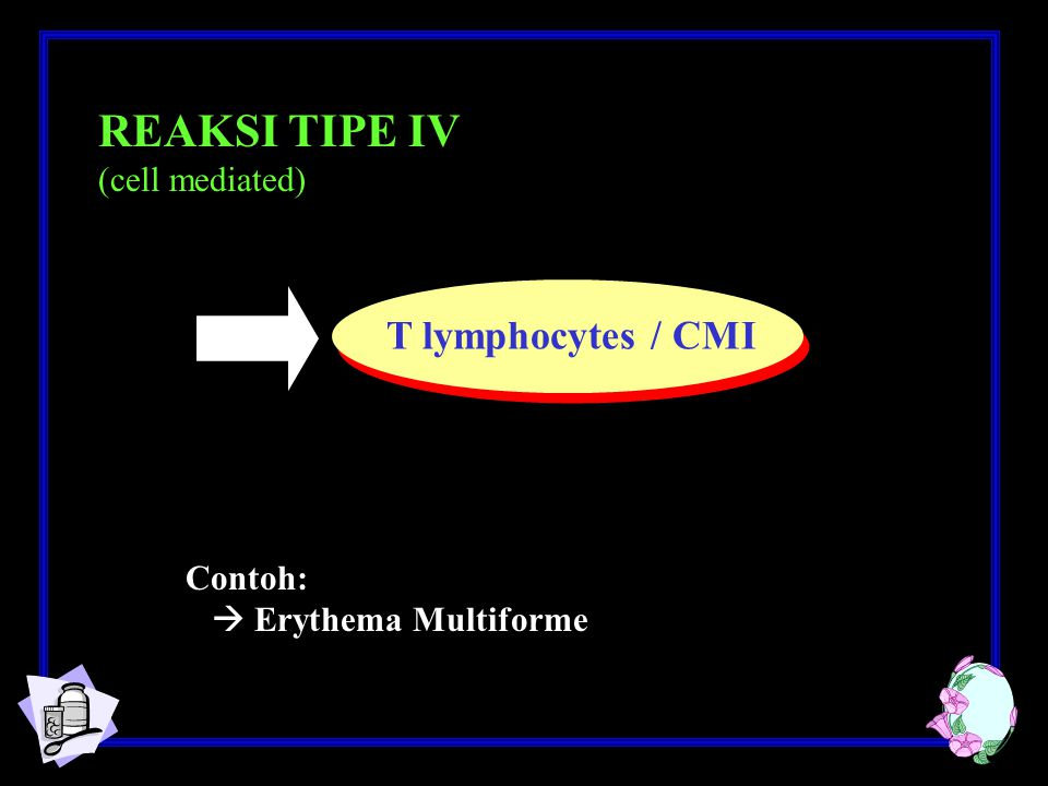 REAKSI TIPE IV T lymphocytes / CMI (cell mediated) Contoh: